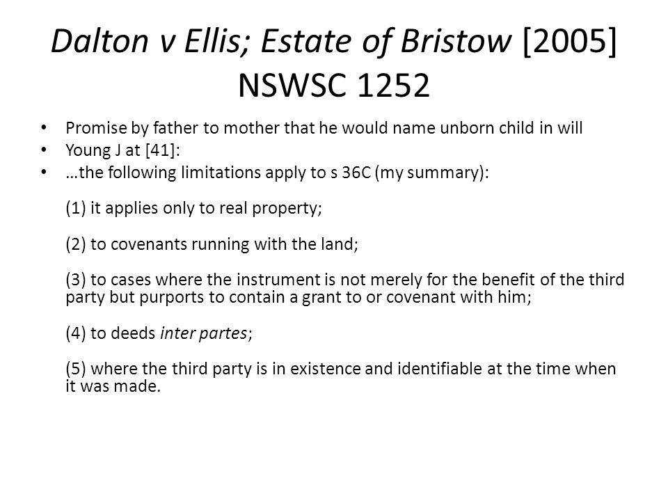 Dalton v Ellis; Estate of Bristow [2005] NSWSC 1252
